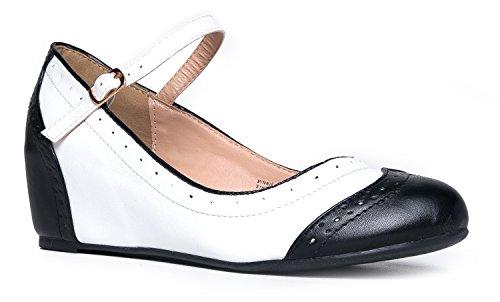 J. Adams Minnie Mary Jane - Retro Round Toe Ankle Strap Wedge - Vintage - Es Oxford