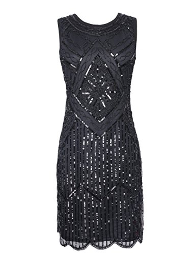 KAYAMIYA Women's 1920S Sequined Fringe Beaded Gatsby Flapper Evening Dress – Small, Elegant Black
