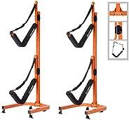RAD Sportz Double Kayak Storage Rack- Self Standing Dual Canoe Kayak Cradle Set with Adjustable Safety Strap S