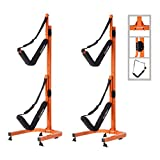 RAD Sportz Double Kayak Storage Rack- Self Standing Dual Canoe Kayak Cradle Set with Adjustable Safety Strap System for Outdoor Indoor Use