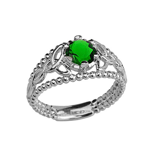 Sterling Silver Modern Beaded Celtic Trinity Knot Engagement Ring with May Birthstone Emerald (Size 8)