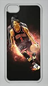 Derrick Rose Chicago Bulls #1 NBA Sports Custom PC Transparent Case for iPhone 5C by LZHCASE