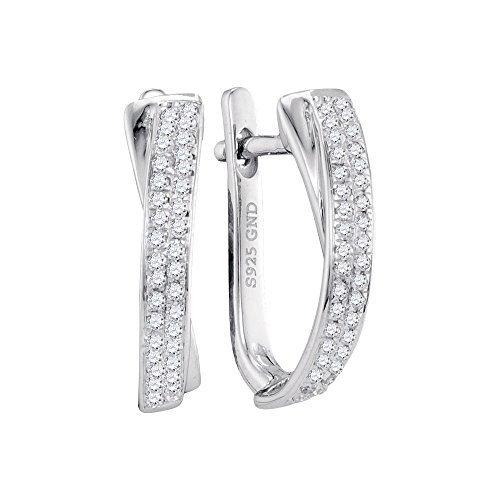 Roy Rose Jewelry 10K White Gold Womens Round Pave-set Diamond Hoop Earrings 1/6-Carat tw