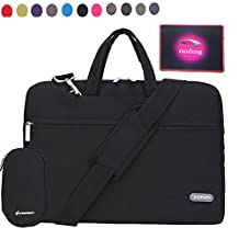 FOPATI 11.6 Inch Fabric Suit Laptop Bag Shoulder Messenger Bag With Strap & Handles Slim Briefcase Computer Sleeve Case for iPad Pro 12.9''/ Macbook Air 11 12, Surface Pro Tablet 11 inch Ultrabook Notebooks + Small Pouch