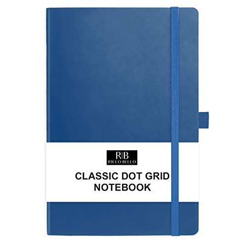 RICCO BELLO Dotted Hardcover Bullet Style Journal Notebook, Vegan Leather Cover, Acid-Free Paper, Pen Loop, Storage Pocket, Band Closure, 5.7 x 8.4 Inches (Royal Blue)