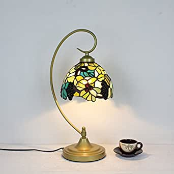 8 Pulgadas Tradicional Uvas Pastoral Retro Antigua De Tiffany Lámpara De Mesa Lámpara De Cabecera