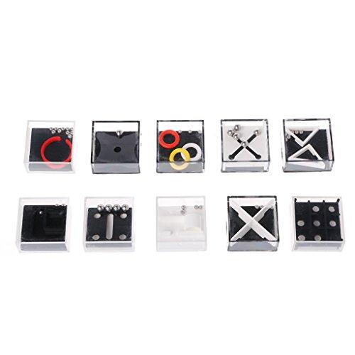 coldtoy Fidgetパズルボックス、ハンドヘルドポケットのおもちゃ、LittleゲームDecompression子供用/大人用おもちゃ、ブラック、ホワイト、10異なるボックス 6548