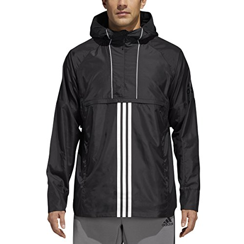 - adidas Men's Windbreaker Black Jacket Rain Coat Hooded - CZ5125 (XL)