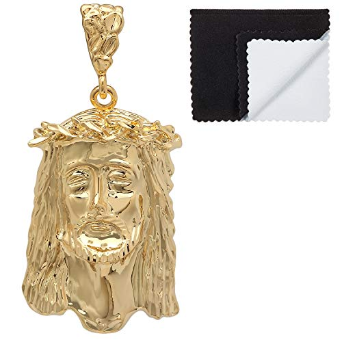 The Bling Factory Men's Large 14k Gold Plated Crown of Thorns Jesus Piece Pendant + Microfiber Jewelry Polishing Cloth ()