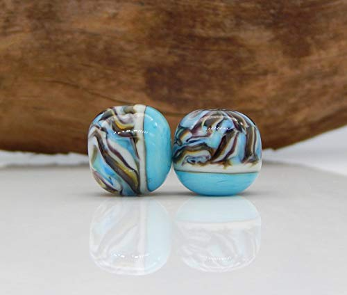 World's Natural Treasures - Lampwork Bead Pair Turquoise Blue Yellow Green Purple Stripes Earrings Charms Beads Unique One of A Kind Artisan Handmade ()