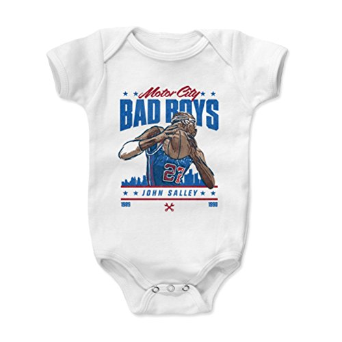 500 LEVEL John Salley Baby Clothes, Onesie, Creeper, Bodysuit 3-6 Months White - Vintage Detroit Basketball Baby Clothes - John Salley Bad Boys B ()