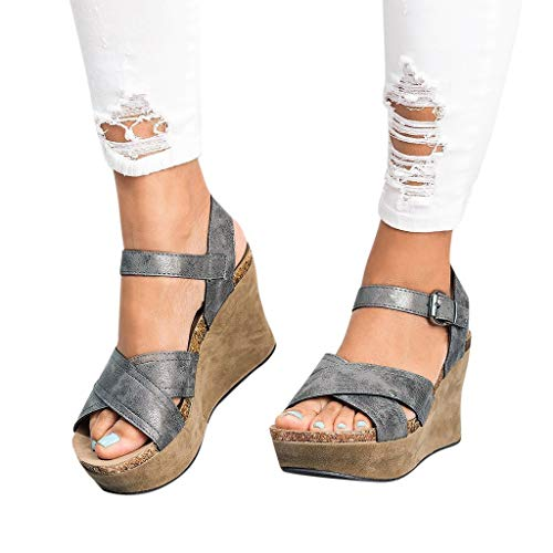 Women Sandals Clearance Sale!melupa Ladies Summer Fashion Sandals Buckle Strap Wedges Retro Peep Toe Sandals