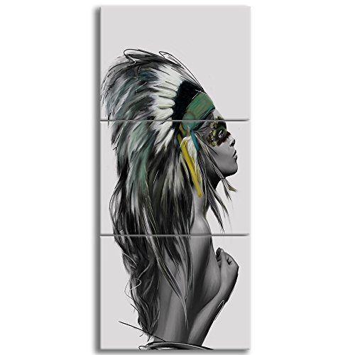KALAWA Native American Girl Feathered Women Modern Home Wall Decor Canvas Artworks Picture Art HD Print Painting On Canvas 3 Piece Framed Ready to Hang(24''W x 16''H)