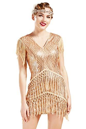 BABEYOND 1920s Flapper Dress Long Fringed Gatsby