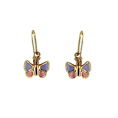 18K Yelloe Gold lilac and Pink enamel Buttefly Dangle earring with closing on front H0.66 inch by Amalia