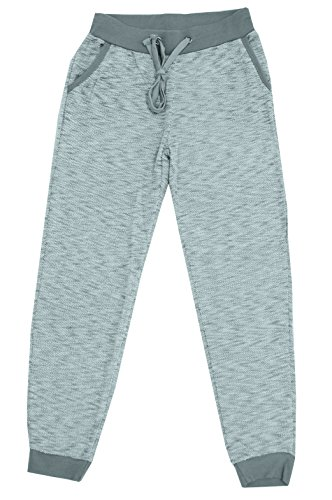 UZZI SUZZI Womens French Terry Elastic Waist Pants (X-Small, Gray)