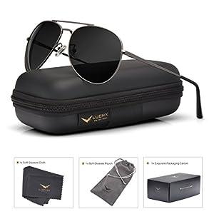LUENX Aviator Sunglasses Men Women Mirror Polarized UV400 Metal Frame 60MM (018-Grey, 60)