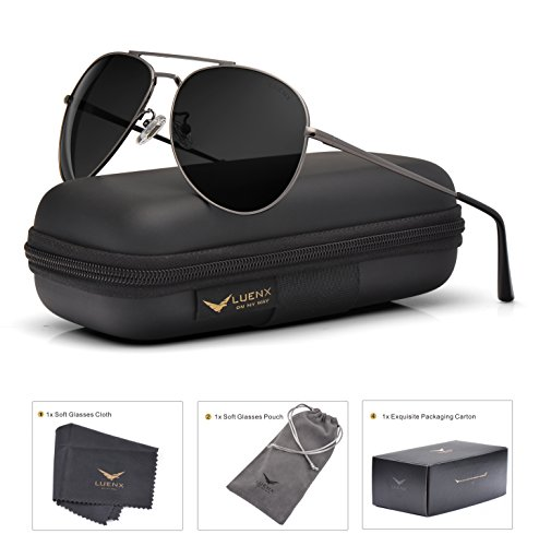 LUENX Aviator Sunglasses Men Women Mirror Polarized UV400 Metal Frame 60MM (018-Grey, - Sunglasses Styles Women's
