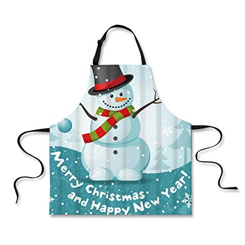 FOR U DESIGNS Xmas Apron Durable Bib Aprons for BBQ Baking Cute Snowman Merry Christmas and Happy New Year Printed Apron Skin-Friendly