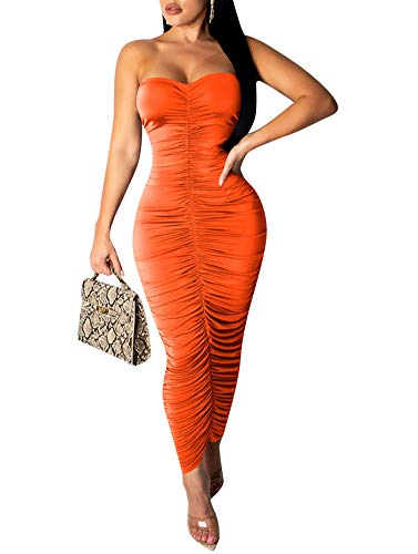 Remelon Womens Sexy Strapless Ruched Tube Top Bodycon Tight Fit Party Long Skirt Maxi Dress Orange XL