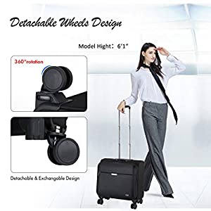 """Hanke 18 Inch Rolling Laptop Briefcase Rolling Computer Case Fits 15.6"""" Notebook with Detachable Wheels Roller Bag…"""