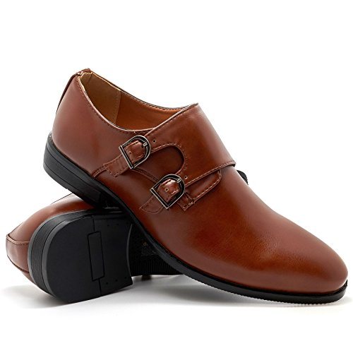 London Footwear Maximilian, Men's Double Monk Strap Derby Brown