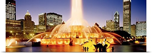GREATBIGCANVAS Entitled Evening Buckingham Fountain Chicago IL Poster Print, 48