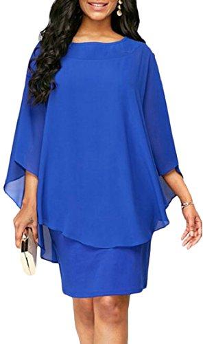Jaycargogo En Mousseline De Soie À Manches Longues Batwing Femmes Bodycon Cocktail Mini-robe Bleue
