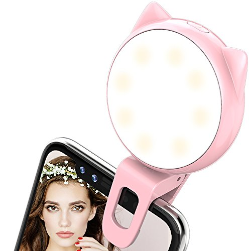 Selfie Ring Light- ALCLAP Clip on Phone Selfie Light [32 LED] for Camera [Rechargeable Battery] Selfie LED Camera Light for iPhone iPad Samsung Galaxy Photographs Cell Phones, Tablets, Laptops (Pink)