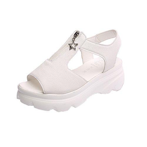 Tone Platform Sandals (TOOPOOT Women's Artificial Leather Casual Sandals Platform Wedges Sandals (beige, 4.5))