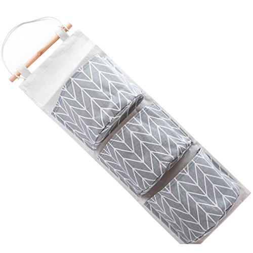 Dolland 1 Pc Linen Cotton Fabric Wall Door Closet Hanging Storage Bag 3 Pockets Over the Door Organizer ,Gray (Closet 1)