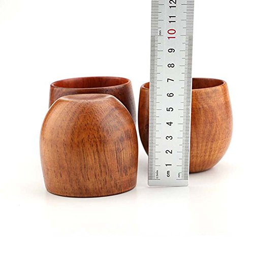 XHWine 3pcs Hand-made Natural Wooden Sake Cup (6x5.5cm) by XHWine (Image #5)