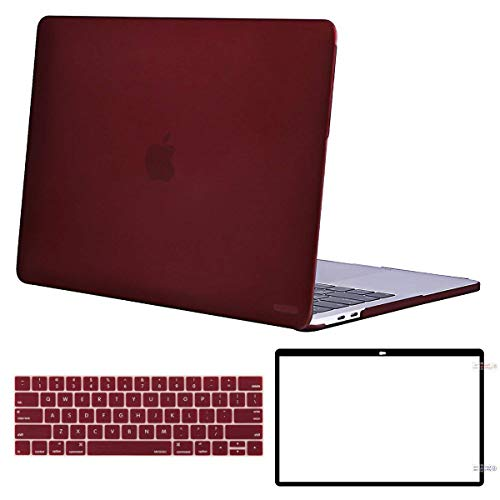 MOSISO MacBook Pro 15 Case Corner Protective Compatible Newest MacBook Pro 15 Inch 2018 2017 2016 Release A1990/A1707 with Touch Bar, Plastic Hard Shell&Keyboard Cover&Screen Protector, Marsala Red