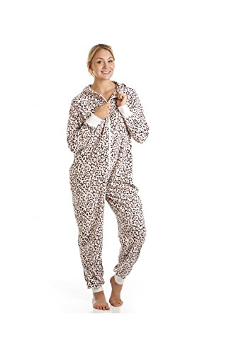 Camille Womens Ladies Supersoft Pink Leopard Fleece Hooded All In One Onesie 10/12 PINK