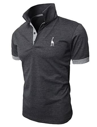 H2H Men's Fashion Stand Collar Pure Color Short Sleeve Polo T Shirt CHARCOAL US XS/Asia M (JDSK36)