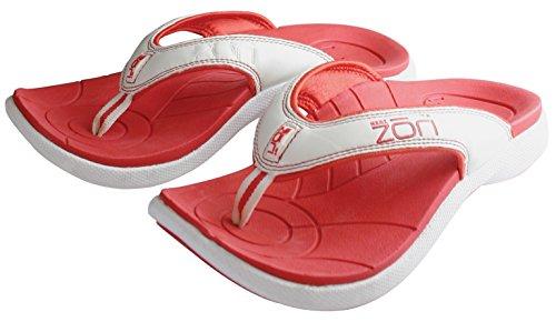 Neat Feat Herren Zori Sport Orthesen Slip-On Sandalen Flip Flop Rot-Weiss