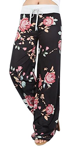 Artfish Women Loose Baggy Yoga Long Pants Floral Printed Trousers (3XL, Black) Printed Lounge Pants