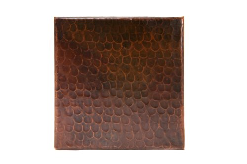 Premier Copper Products T6DBH 6-Inch by 6-Inch Hammered Copper Tile, Oil Rubbed Bronze by Premier Copper Products