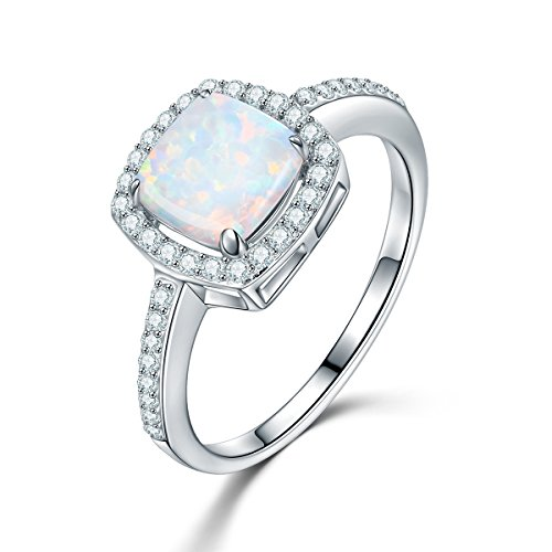 Square Stacking Ring (BISAER Genuine 925 Sterling Silver Square Cushion Cut Solitaire Opal Halo Cubic Zirconia Stacking Wedding Engagement Rings for Women Size 6)