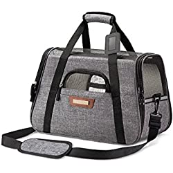 SLEEKO Pet Carrier Airline Approved for Cats and Dogs (Small) Under Seat Tote Bag w/Sling Shoulder Carry Strap | Padded Fleece Sleep Pads, Soft Side Mesh Breathability | Incl. Storage Case