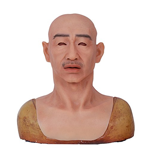 Male mask Halloween Costume Party Latex Head Mask face Crease silicone realistic full head masquerade for crossdresser cosplayer(NO.3)