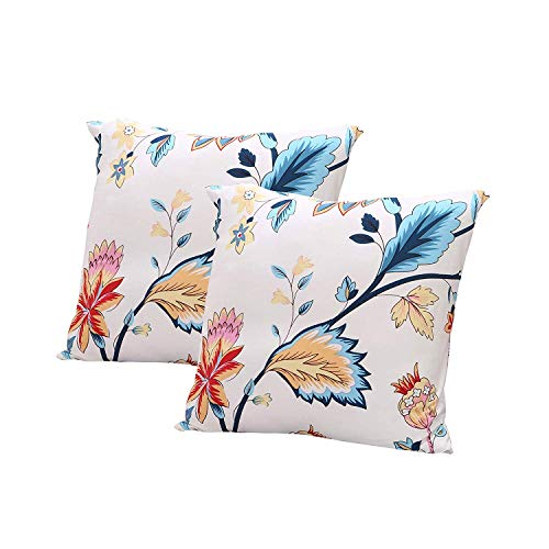ENZER Four Seasons Throw Cushion Covers Square Throw Pillow Case Shell Decorative Pillow Cover Pillowcase 18x18 inches (2 x Pillowcase (no Inner), Cleome)