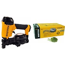 """BOSTITCH RN46-1 3/4"""" to 1-3/4"""" Coil Roofing Nailer & BOSTITCH CR3DGAL 1-1/4-Inch Smooth Shank 15 Inch Coil Roofing Nails, 7,200-Quantity"""