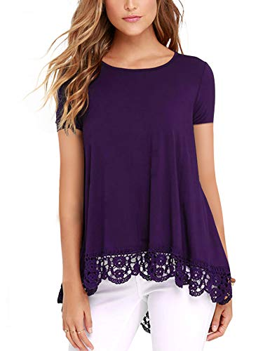 (RAGEMALL Women's Tops Short Sleeve Lace Trim O-Neck A-Line Tunic Blouse Tops for Women Purple XL)