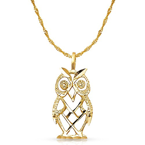 (14K Yellow Gold Owl Charm Pendant with 1.8mm Singapore Chain Necklace - 22