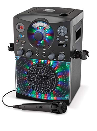 41MdwL%2BCBJL - Singing Machine SML385UBK Bluetooth Karaoke System with LED Disco Lights, CD+G, USB, and Microphone, Black