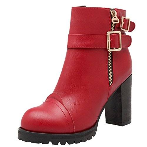 AIYOUMEI Womens Block Heel Ankle Boots With Zip Chunky Heeled Buckle Boots High Heels Platform Boots Red