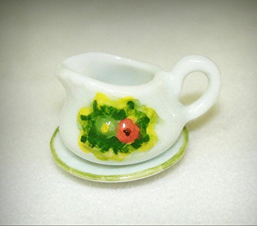 Dollhouse Miniature Ceramic Flowers Gravy Boat or Cream Pitcher 1:12 Scale - My Mini Garden Dollhouse Accessories for Outdoor or House Decor