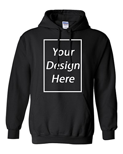 Add Your Own Text and Design Custom Personalized Sweatshirt Hoodie (Small, Black)