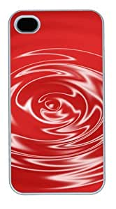 iphone 4 case cassette Red glassy waves PC White for Apple iPhone 4/4S